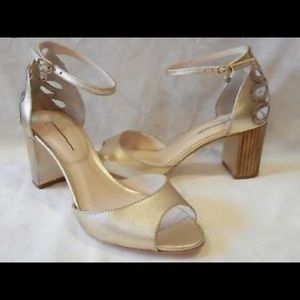 Guilhermina Bechette Gold Leather Heels  6